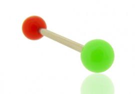 Piercing langue bicolore rouge et vert