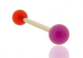 Piercing barbell bicolore rouge et violet