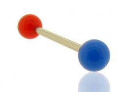 Piercing barre droite bicolore rouge et bleu