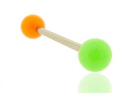 Piercing barbell bicolore orange et vert