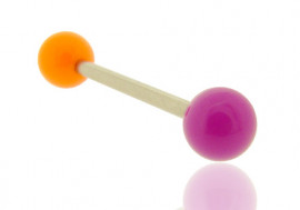 Piercing barre droite bicolore orange et violet