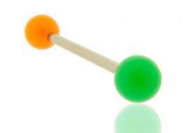 Piercing langue bicolore orange et vert foncé