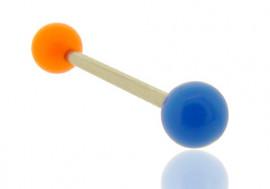 Piercing barbell bicolore orange et bleu