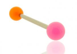 Piercing barbell bicolore orange et rose