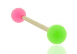 Piercing barre droite bicolore rose et vert