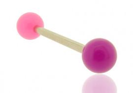 Piercing barre droite bicolore rose et violet