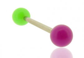 Piercing langue bicolore vert et violet