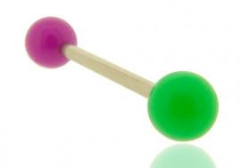 Piercing barbell bicolore vert foncé et violet