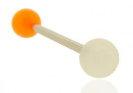 Piercing langue bicolore orange et blanc