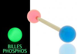 Piercing langue phospho rose et bleu
