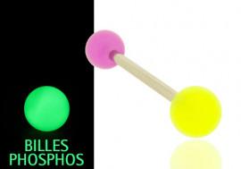 Piercing langue phospho jaune et violet