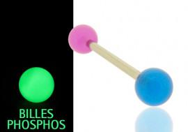 Piercing langue phospho bleu et violet