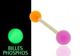 Piercing langue phospho orange et violet