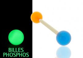 Piercing langue/téton phospho orange et bleu