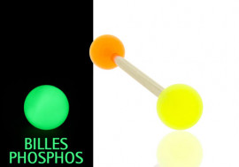 Piercing langue phospho orange et jaune