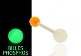 Piercing langue/téton phospho orange et blanc
