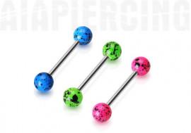 Piercing barbell acrylique tacheté