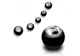 Bille acier noir avec pierre blanche