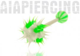 piercing langue virus vert et blanc