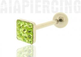 Piercing langue carré de cristaux vert clairs