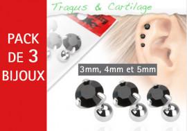 Lot de 3 bijoux pierres rondes noires