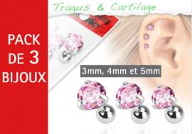 Lot de 3 bijoux pierres rondes roses