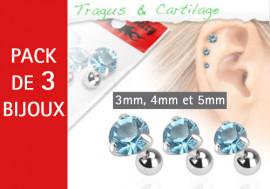 Lot de 3 bijoux pierres rondes bleues