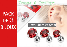 Lot de 3 bijoux pierres rondes rouges