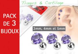 Lot de 3 bijoux pierres rondes violettes