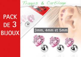 Lot de 3 bijoux coeurs roses