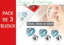 Lot de 3 bijoux coeurs bleus