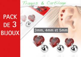 Lot de 3 bijoux coeurs rouges