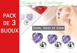 Lot de 3 bijoux coeurs violets