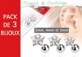 Lot de 3 bijoux étoiles blanches