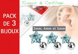Lot de 3 bijoux étoiles bleues