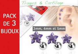 Lot de 3 bijoux étoiles violettes