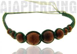 Bracelet vert foncé perles marrons