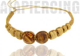 Bracelet beige foncé perles claires