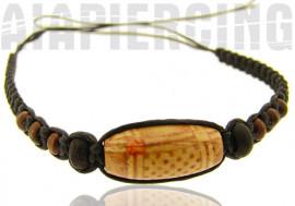 Bracelet noir perle marron décorée