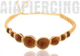 Bracelet beige perles marrons