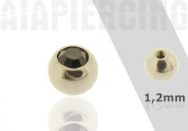 Accessoire piercing Bille acier pierre noire 3mm x 1,2mm
