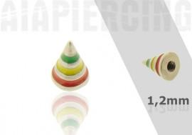 Accessoire Spike acier rayé vert jaune rouge 1,2mm
