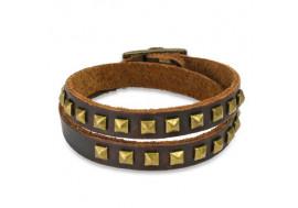 Bracelet en cuir et pyramides dorées
