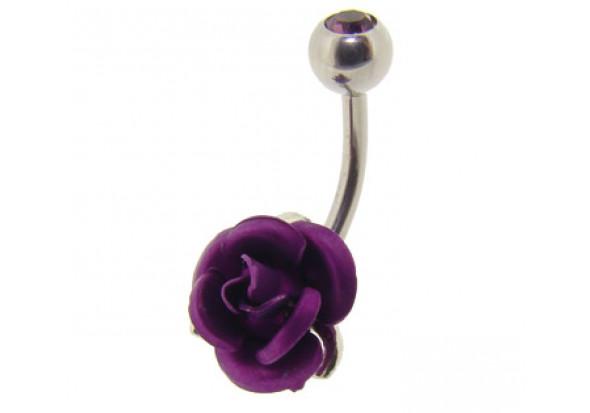 Piercing nombril rose violette