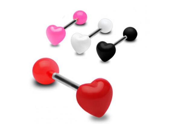 Piercing langue acrylique coeur