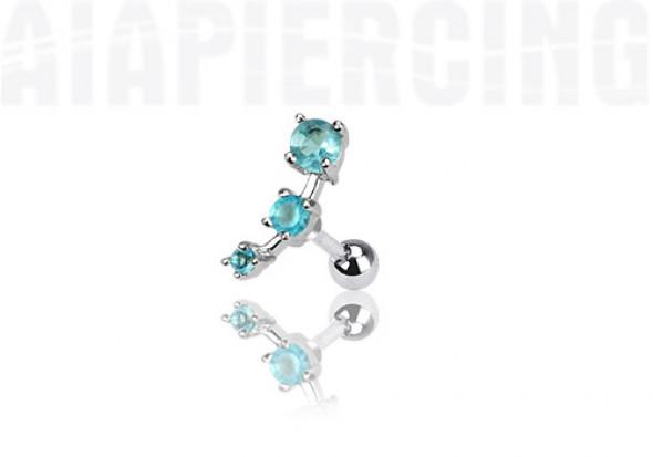 piercing cartilage : 3 pierres turquoises