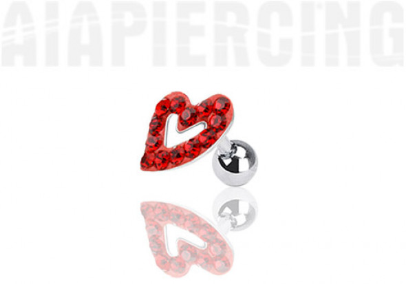 Piercing cartilage coeur pierres rouges