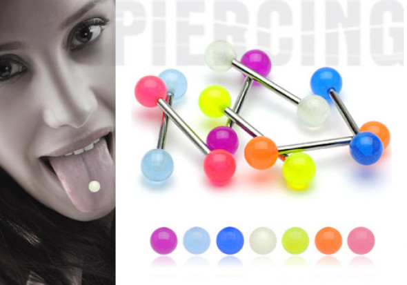 Piercing barbell phosphorescent