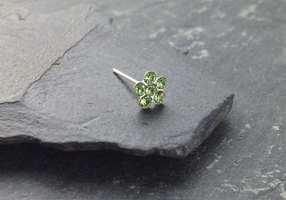 Piercing nez argent fleur - vert clair