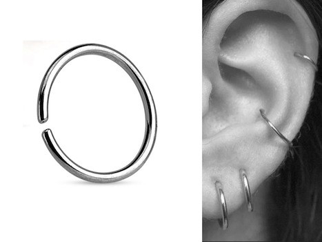 piercing anneau hélix, piercing hélix anneau en acier chirurgical
